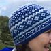 Blue and white ski hat pattern