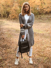 a grey with white stripes cardigan (knees-length) on me