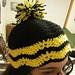 Duel Color Zig Zag Hat with Pom Pom pattern
