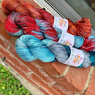 The colors used in the original shawl. Summer Sunset, Vintage and Winter Solstice