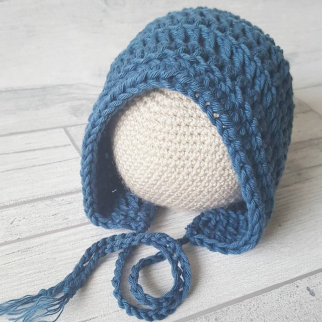 Vintage Brown Baby Bonnet Beanie Handmade Knit