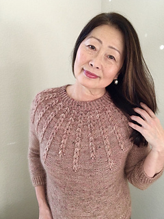 """Size 38.5"""" shown on 35"""" model. Knit with Shibui Silk Cloud and Madelinetosh TML"""