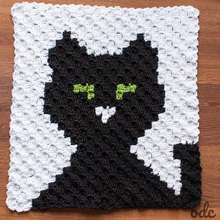 Halloween Black Cat Panel, C2C Square - Free Pattern by Oombawka Design