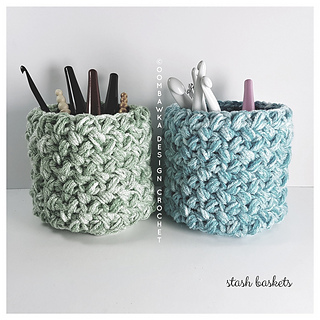 Stash Baskets, Free Crochet Pattern for Medium Weight Yarn. Oombawka Design Crochet.