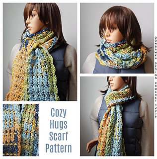 Cozy Hugs Scarf Pattern. Different ways you can wrap your scarf. Free Pattern. Oombawka Design Crochet. #scarfofthemonthclub2018