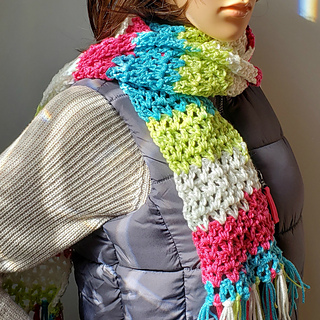 Very Easy V-Stitch Scarf Pattern. Free Scarf of the Month Club 2018 pattern for October. Oombawka Design Crochet.