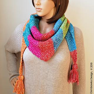 #scarfofthemonthclub2019 #lionbrandyarn Amelia Triangle Scarf Pattern from Oombawka Design Crochet.