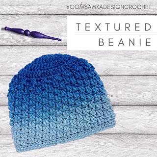 Textured Beanie Pattern. 10 Sizes. Designed by Rhondda Mol. @oombawkadesigncrochet