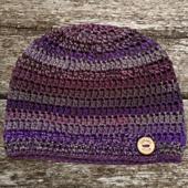 Ametrine Button Hat - Rhondda Mol - Oombawka Design Crochet. #scarfhatofthemonthclub2020
