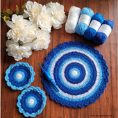 Winter Blues Table Mat and Coaster Set - Rhondda Mol