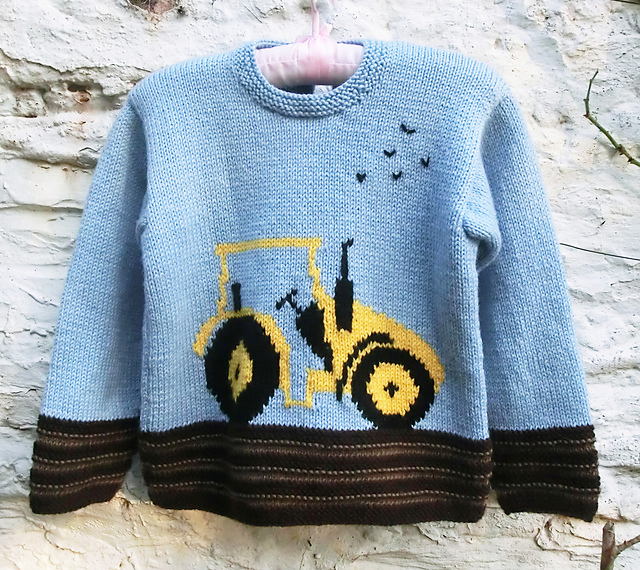 "KNITTING PATTERN CHILDREN/'S SWEATER WITH TRACTOR MOTIF SIZES 22/"" 28/"""