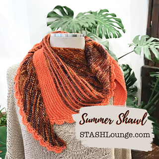 Sample knit in our Summer Sunset kit featuring Ancient Arts Yarn in Maple and Coral Reef.