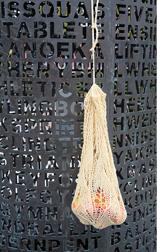 [Image Description: A lace and mesh bag hanging down in front of a sculpture wall. The bag is handing from a twisted cord drawstring, and has apples within the mesh.]