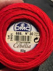 50g Ball DMC Cebelia Combed Cotton Crochet Thread Size 20 Colour 666 Bright Re