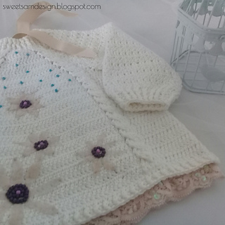 Braids and Lace Embellished Baby Sweater