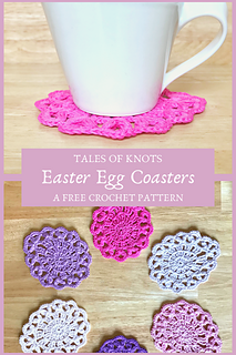 A beautiful yet simple free Crochet pattern for Easter egg shaped coasters and mug rugs, perfect for spring makes!