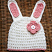 Easter Bunny Hat with Flower pattern