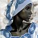 Knitted Hat Denim flowers pattern