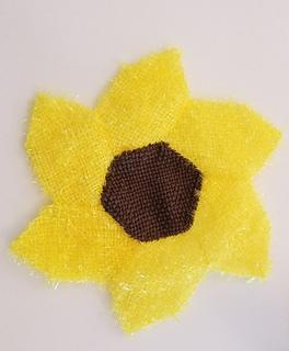 Hexagon Pin Loom Sunflower Dish Cloth