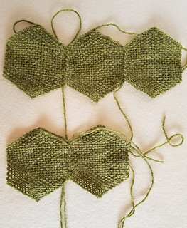 For the CC, make one ring (of 3 hexagons) for the top trim, and sew 2 hexagons together for the heel.