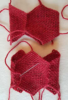 Start sewing the rings together.