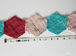 "To show what the ""bias"" stretch does ... unstretched, three hexagons are about 10.5"" in length."