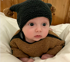 French Macaroon knit by Kristenlynnea. Tiny Tot hat designed by Kristenlynnea ( Kristen Rettig). https://www.ravelry.com/patterns/library/tiny-tot-2