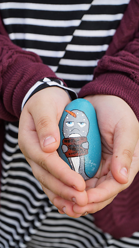 """We found a painted kindness rock while out taking photos. It says, """"Not a Unicorn. They are overrated."""" And it made my daughter so happy!"""