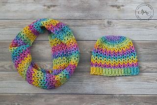 Rainbow Love Hat with Rainbow Love Cowl