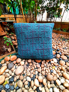 pillow by Jui Tawade, yarn stats included in pattern.