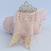 Berthine pattern styled with a tiara