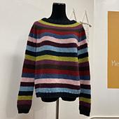 Completed sweater with nine colors of equal width stripes: very dark blue, medium acid green, medium plum rose, dark chocolate brown, red, denim blue, light pink, deep burgundy, and medium aqua. It is photographed on a dress form.