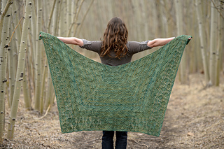 This pattern comes with instructions for two shawl shapes. This is the 3/4 square shape.
