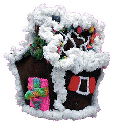 Gingerbread House Tea Cozy (side front) - Knitting Pattern