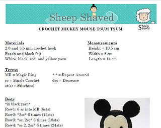 Amigurumi Pattern Mickey Mouse ENGLISH PATTERN PDF Doll | Etsy | 255x320