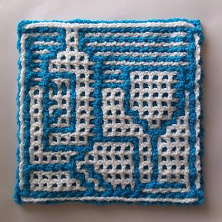 Crocheted by Kate Dudman. Blue as MC