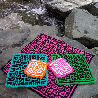10, 20, & 40 squares; crocheted by Dawn Haynes