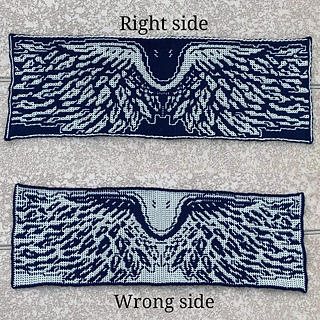 This picture shows the differences between the wrong side and right side when done in interlocking crochet.