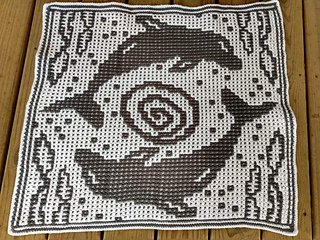 Mosaic Crochet, by Altona Newcombe. Black as MC, extra white border done after to hide tails.