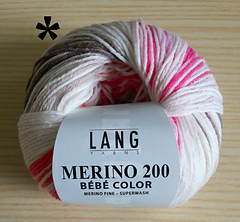 Lang Yarns Merino 200 BEBE 366-LL 203 M//50 g-aiguille Force 2,5-3,5