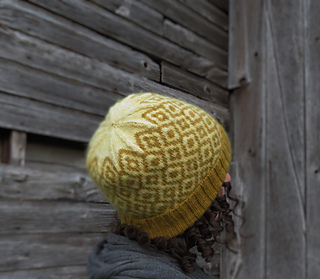 View of a woman with curly hair facing away from the camera looking at a barn and wearing a mustard yellow hat with a diamond pattern.