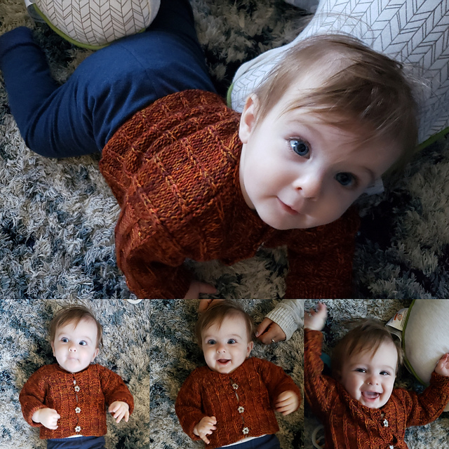 Several pictures of a baby with huge blue eyes and a brown knitted sweater