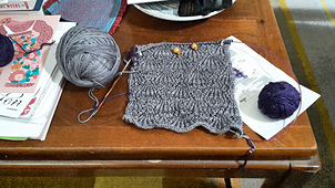 Swatching out the lace chart. I struggled with stitch counts, but realized it was due to ST:Voyager.