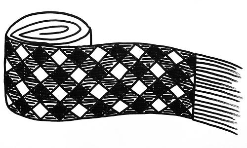 Diagonal plaid scarf
