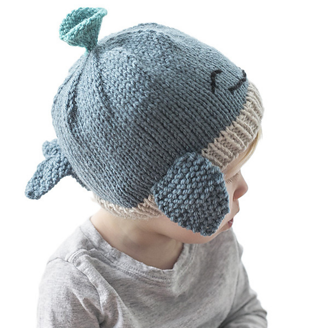 Turquoise whale unisex baby beanie hat  with whale and boat design
