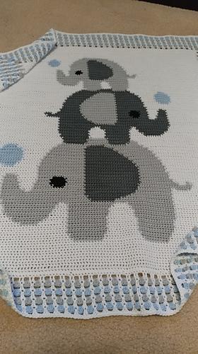ELEPHANT pattern for crocheted blanket | Crochet blanket edging ... | 500x280
