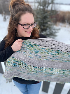 3 Rose gold dk and 1 Rose garden fingering on 100/% pima cotton My sisters favourite things shawl kit