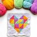 Rainbow Geometric Heart Square pattern