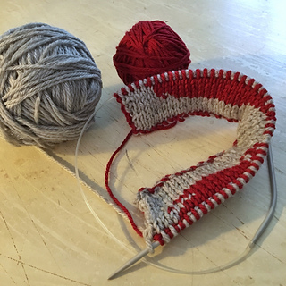 """Trying something new - flat knitting on circs, as I kept getting the ends of my 14"""" needles caught on my sleeves, wrapped in the yarn, etc."""