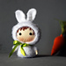 White Bunny Doll with carrot. Tanoshi series toy. pattern